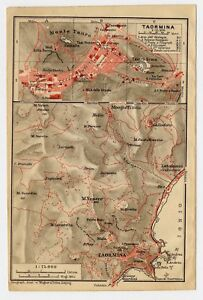 1911 Original Antique City Map Of Taormina Sicily Italy