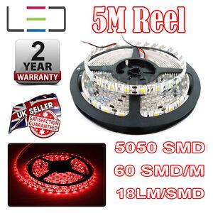 5m 12v Red LED Strip Light 5050 IP65 300SMD 18LM/SMD 60SMD/m Bright Waterproof