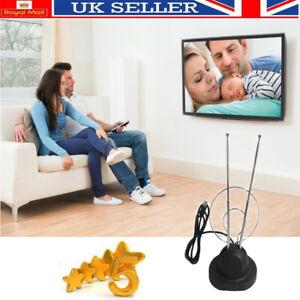 Digital-Ready-Rabbit-Ears-TV-Aerial-Antenna-HDTV-VHF-UHF-Signal-W-Coaxial-Cable