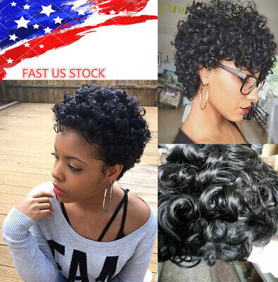 Girl Women Black Short Wigs Afro Curly Pixie Cut Synthetic Wig African American Ebay