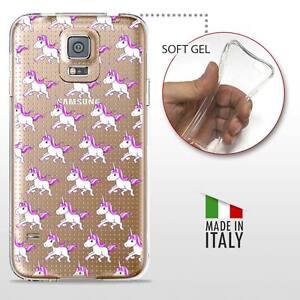 Galaxy S5 TPU CASE COVER PROTETTIVA GEL TRASPARENTE Unicorno Arcobaleno