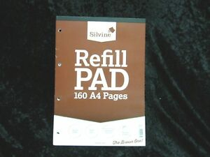 Silvine A4 Refill Pad 4 Hole Punched 160 Pages Feint Ruled With Margin Pack of