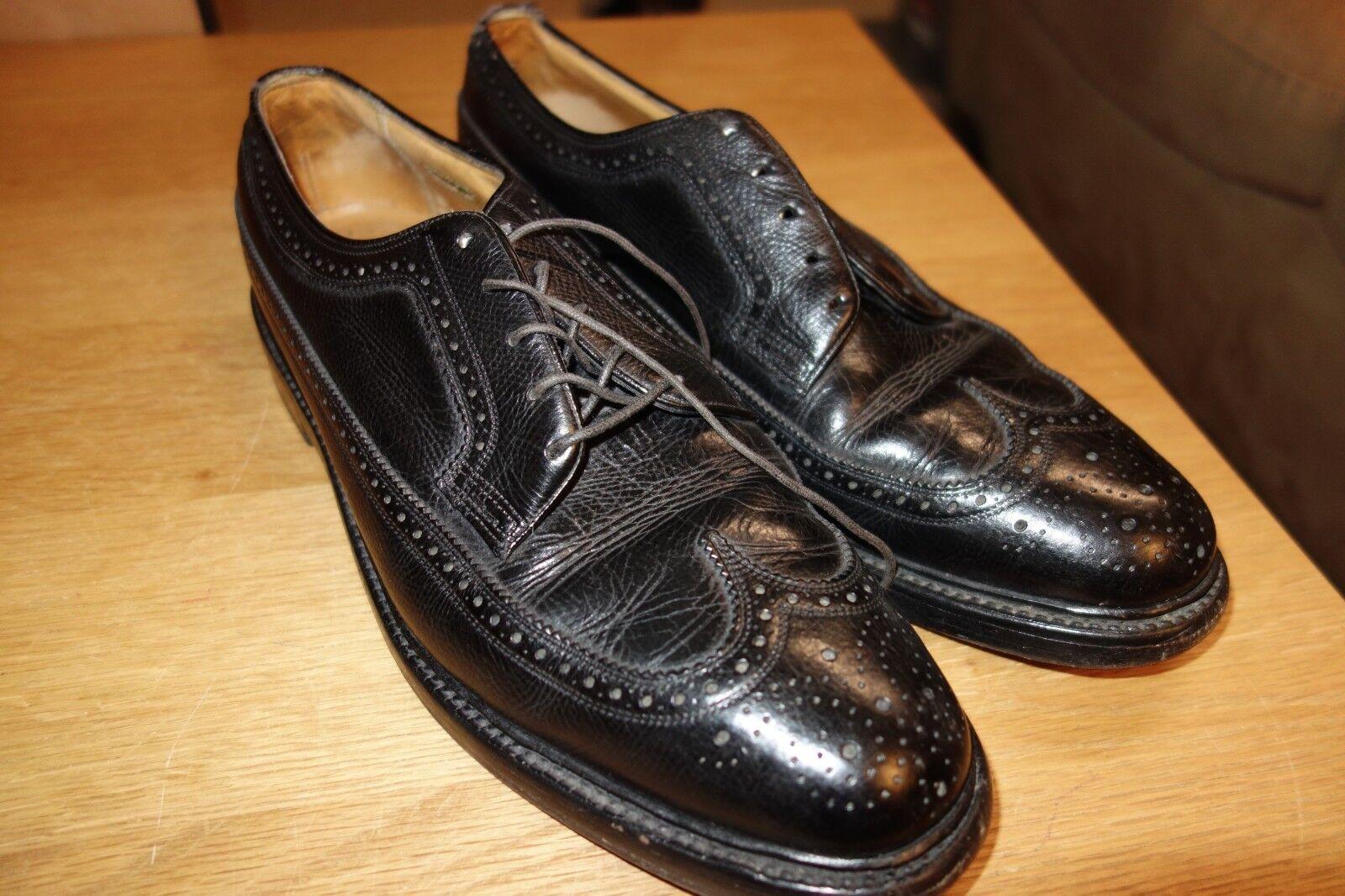 Florsheim Imperial 5 Uñas Negro granulada de punta del ala Oxfords C Usa