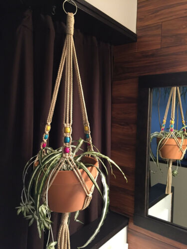 "MACRAME PLANT HANGERS Sand 50/"" Mixed Wooden Beads"