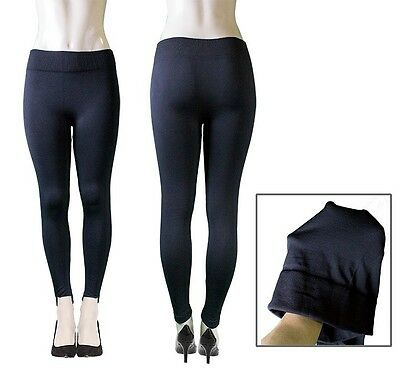 WOMEN'S BLACK LEGGINGS THICK FLEECE LINED WARM PANTS ONE SIZE