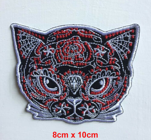 Cat with flower and diamond badge Iron on Sew on Embroidered Patch appliqué
