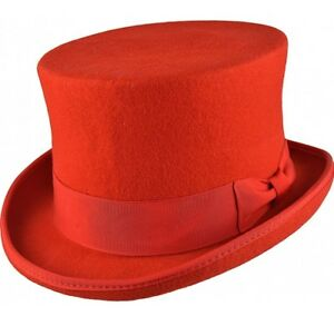 aca0d157506 Top Hat Red 100% Wool Felt Supreme Quality Wedding Ascot Party ...