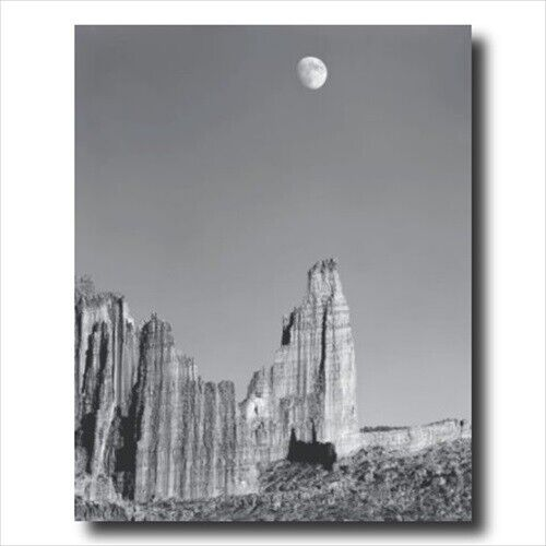 Moon Over Titan Nature Landscape Wall Picture Gold Framed Art Print