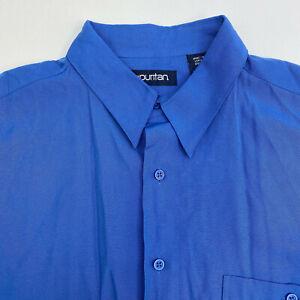 Puritan-Button-Up-Shirt-Mens-Large-Blue-Short-Sleeve-Casual