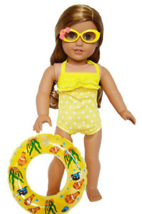 Yellow-Swim-Set-with-Accessories-for-American-Girl-Dolls-18-Inch-Doll-Clothes