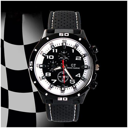 Montre Sport Homme Quartz Analogique Bracelet Silicone Grand Touring Pilote GT