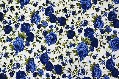 FQ Classic Blue Rose Flower Style on Ivory White 100% Cotton Fabric ~ Free S&H