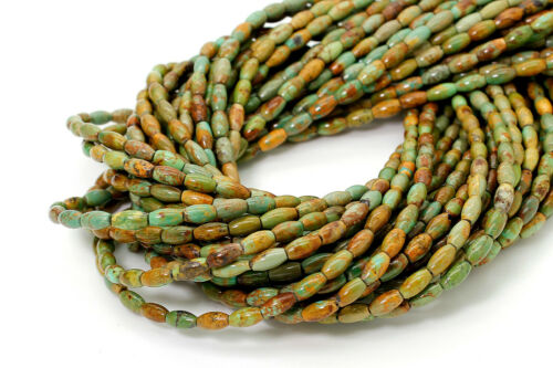 Natural Genuine Turquoise Beads Smooth Cylinder Barrel Loose Gemstone PGS264