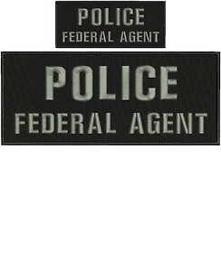 police-federal-agent-embroidery-patches-4x10-and-2x5-hook-grey