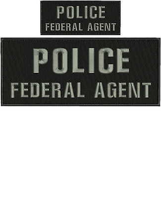 police federal agent embroidery patches 4x10 and 2x5 hook grey