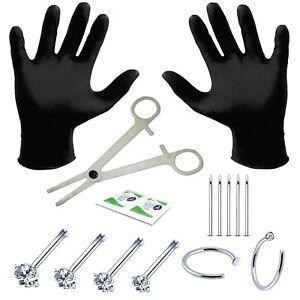 BodyJ4You 15PCS Piercing Rings Studs Kit Body Piercing Needles 18G or 20G