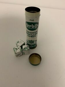 RARE-Vintage-Herb-Ox-Chicken-Bouillon-Cubes-Tin-Cylinder-3-CUBES-Green-Ivory