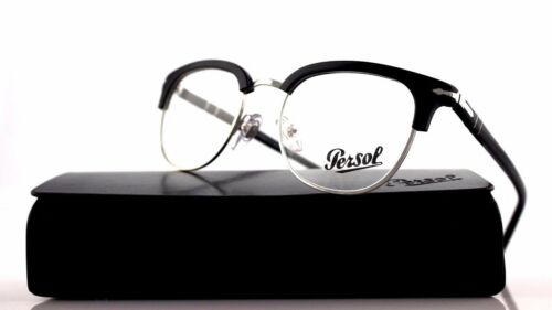 New Authentic PERSOL Black Silver Club Master Eyeglasses Frame PO 3105VM 95