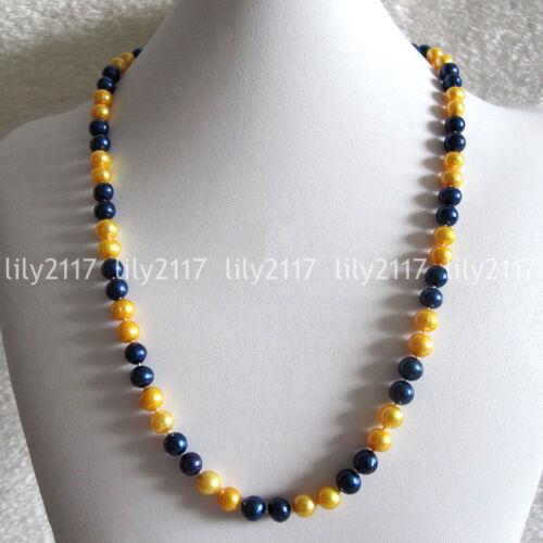 """Véritable Naturel 7-9 mm South Sea Gold noir d/'eau douce collier de perles 18-36/"""" AA"""