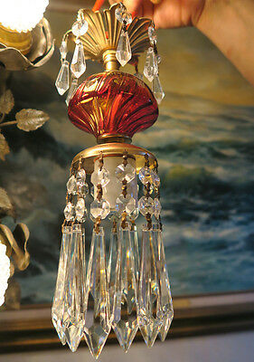 old Vintage mini ruby Swirl glass Brass hanging petite lamp chandelier tole