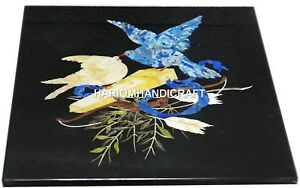 Black-Marble-Center-Side-Coffee-Table-Top-Bird-Inlay-Mosaic-Handmade-Decor-H2989