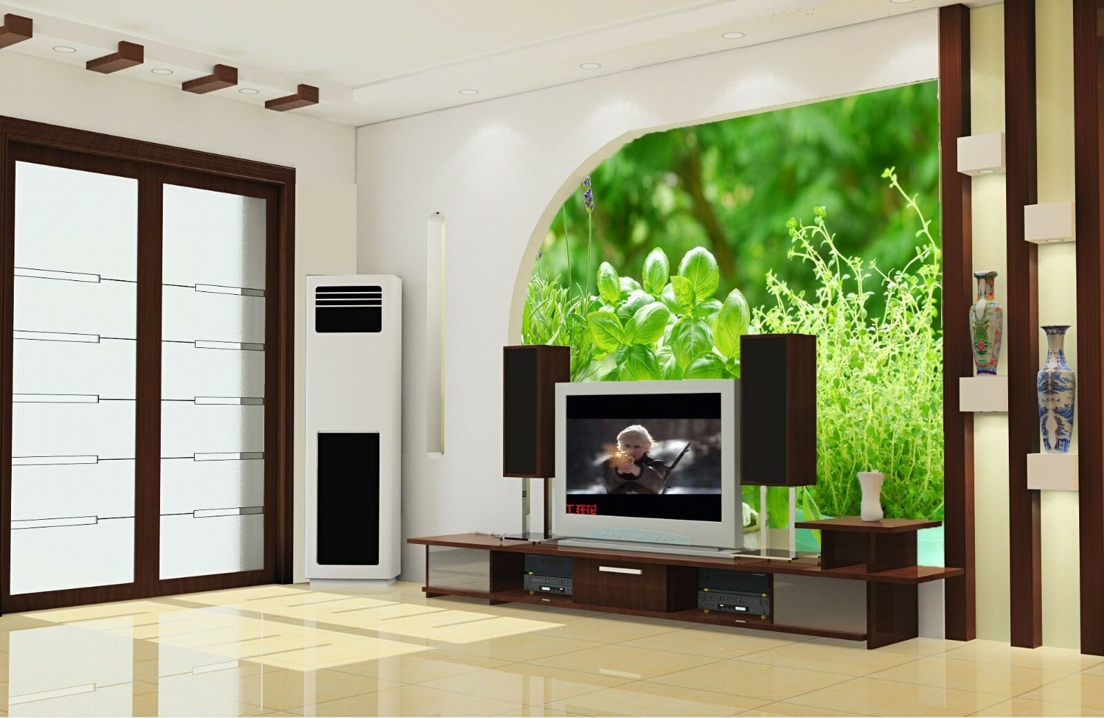 3D Green Leaves Potted Plants 2 Wall Paper Wall Print Decal Wall AJ WALLPAPER CA