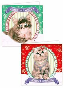 20-x-Christmas-Xmas-Cards-Cute-Cat-Kitten-Dog-Puppy-Designs-Animals-School-Kids