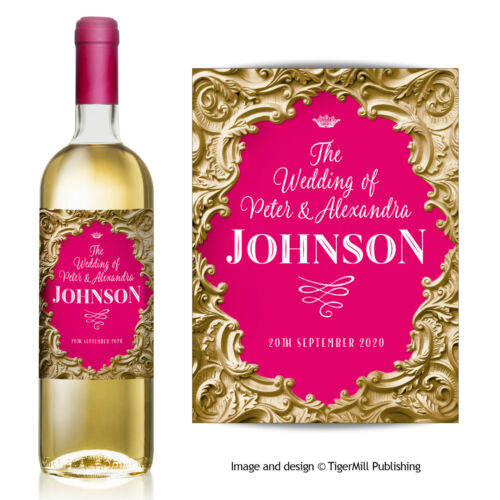 PERSONALISED gold baroque wine label Wedding Hen Engagement Birthday Anniversary