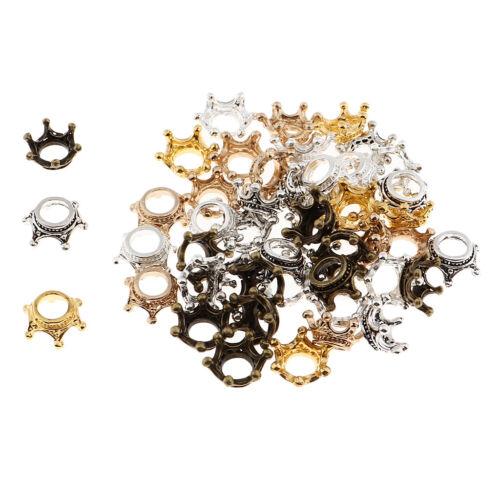 50 Stücke Mischfarbe DIY Krone Anhänger Charms Beads Schmuckanhänger für