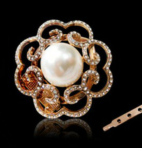 GORGEOUS 18K GOLD PLATED /& GENUINE AUSTRIAN CRYSTAL PEARL SCARF CLIP OR BROOCH