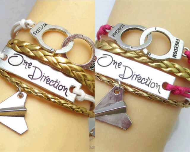 Fashion Charm Women One Direction Handcuffs Friendship Woven Leather Bracelet