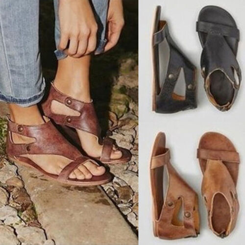 Rome Gladiator Sandals Womens Lady Summer Ankle Strap Flat PU Leather Shoes Size