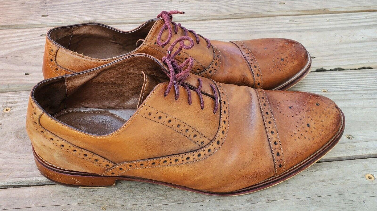 Johnston & Murphy Conard 20-8682 Tan Leather Cap Toe Dress Oxfords Shoes 13 W
