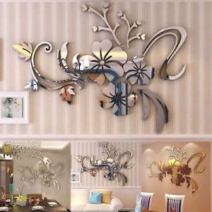 Home-Room-Decor-3D-Mirror-Floral-Art-Removable-Wall-Sticker-Acrylic-Mural-Decor