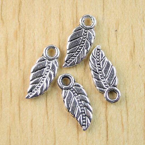 30Pcs Tibetan silver leaf charms findings H0949