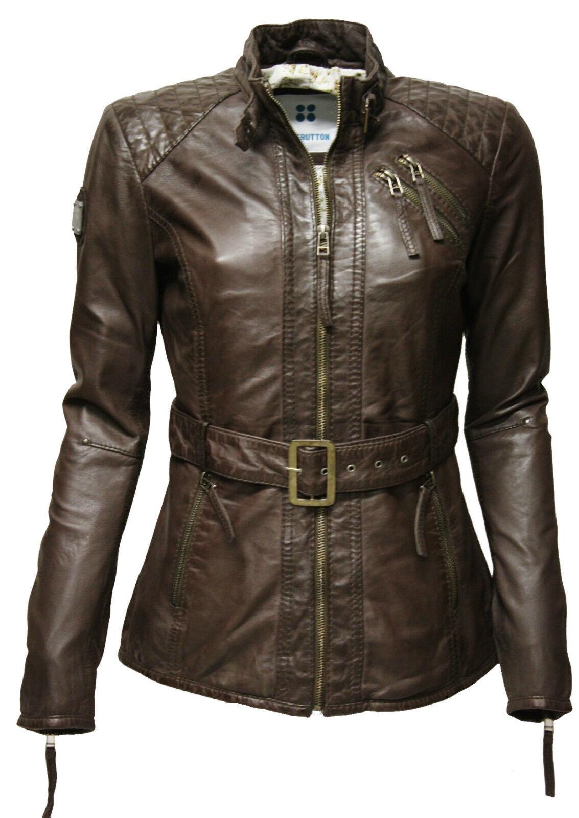 Verdadera  señora chaqueta de cuero mantequilla blando lammnappa washed marrón marrón oscuro escocesa  Disfruta de un 50% de descuento.