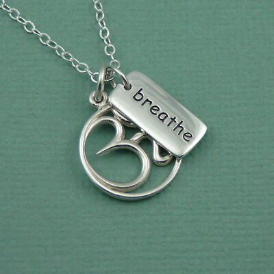 Sterling Silver Yoga Charm Necklace - 925 silver, om symbol, breathe word charm