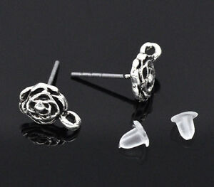 80PCs Silver Tone Rose Earring Post Findings w/ Stoppers 13x10mm