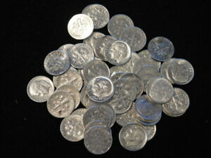 Lot of 50 Roosevelt Silver Dimes 90/% Coins $5.00 Face Roll Mixed Dates