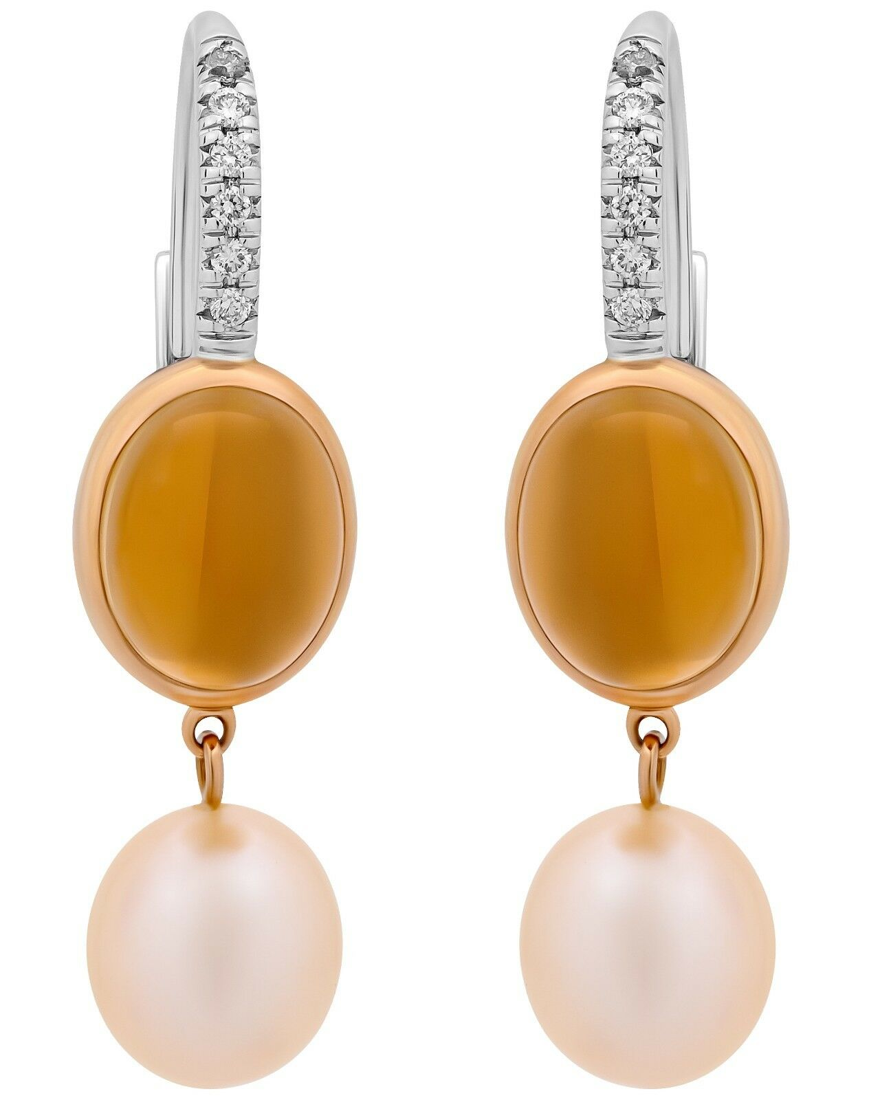 Mimi Milano 18K pink & White gold,Citrine,Pearls And Diamonds Earrings O322C2CB