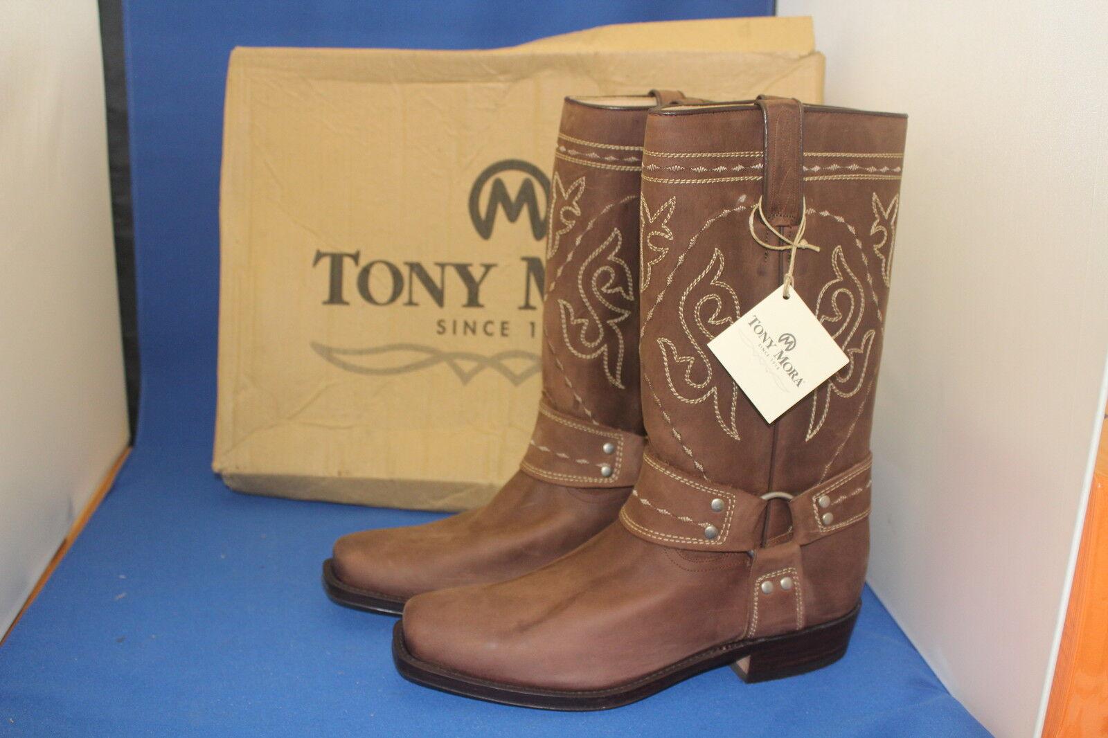 TONY MORA Boots Stiefel Biker  westernstiefel cowboystiefel  gr. 43  neu  leder