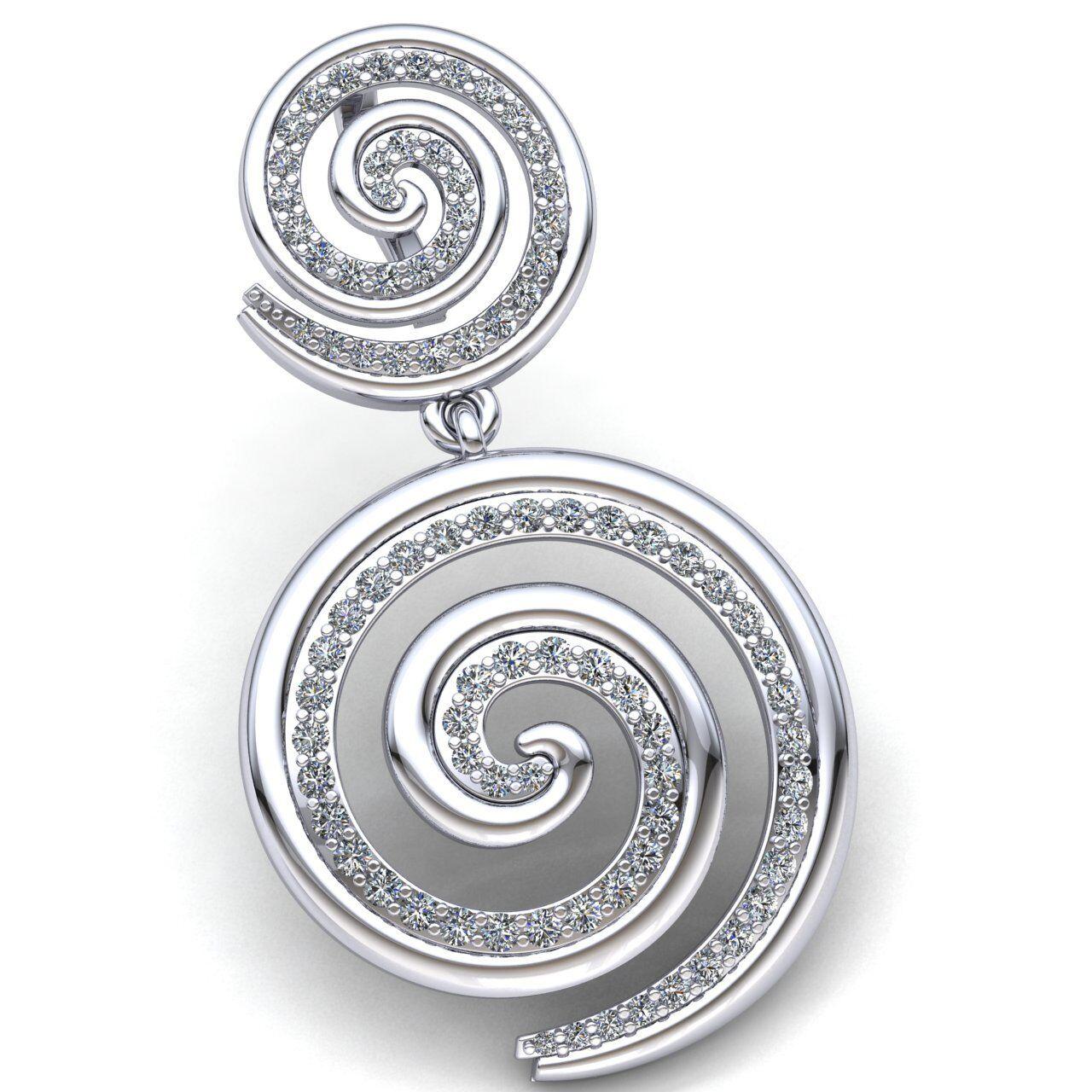 Genuine 0.75ctw Round Cut Diamond Ladies Spiral Circle of Life Pendant 18K gold