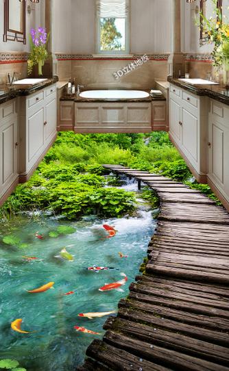 3D Forest Bridge Water 798 Floor WallPaper Murals Wall Print Decal 5D AU Lemon