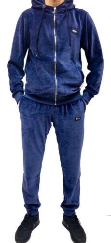 super star hip hop mens tracksuit fit blue Time is money velour jogging set