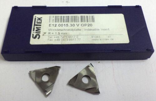 2 Wendeplatten Einstechen E12 0015.30 V GP20 R=1,5 mm von Simtek Neu H12017