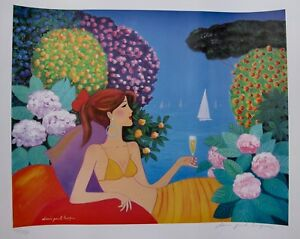 DENIS-PAUL-NOYER-034-Enchanted-Garden-034-Hand-Signed-Limited-Edition-Lithograph-Art