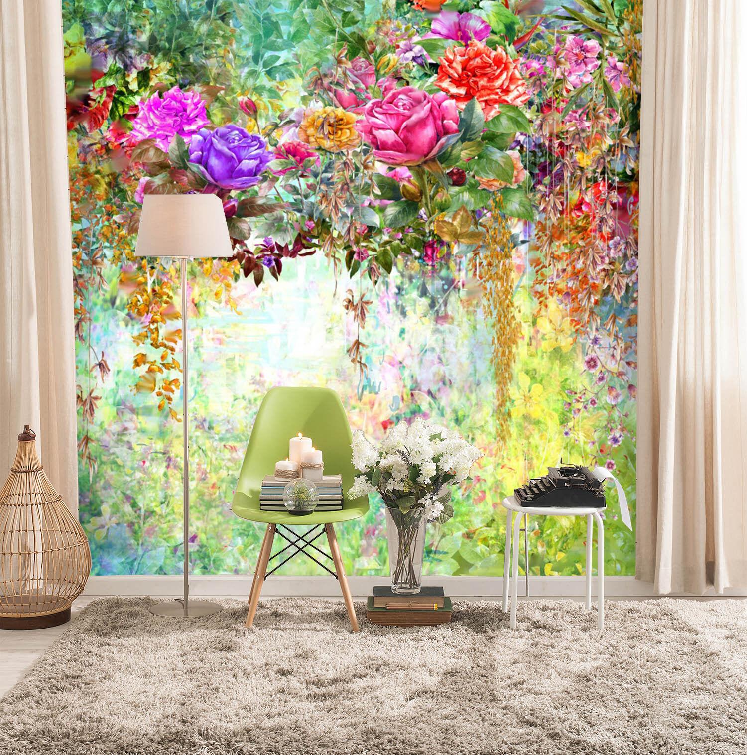 3D Bunte Blumen 411 Fototapeten Wandbild Fototapete Bild Tapete Familie Kinder