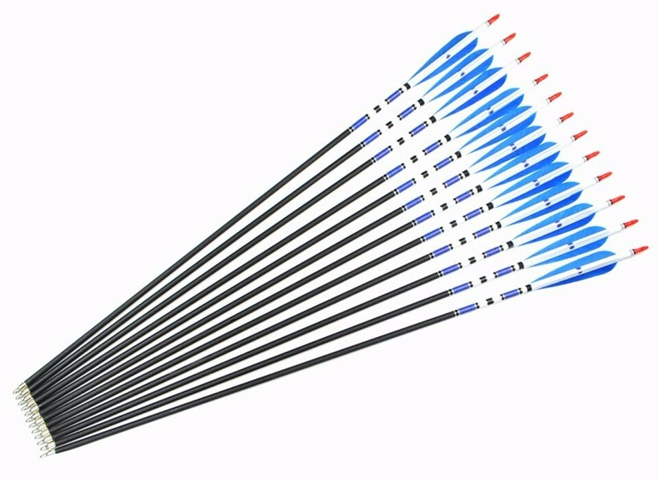 12pcs 31  Carbon Arrows Turkey Feather Spine 500 Hunting Arrows for Compound Bow