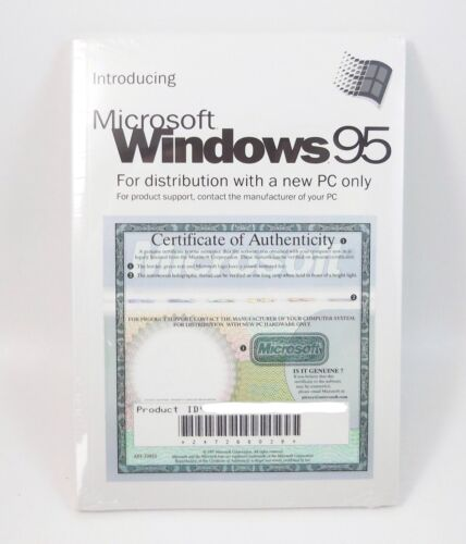 Microsoft WINDOWS 95 Operating System CD Full Version w// License Key SEALED