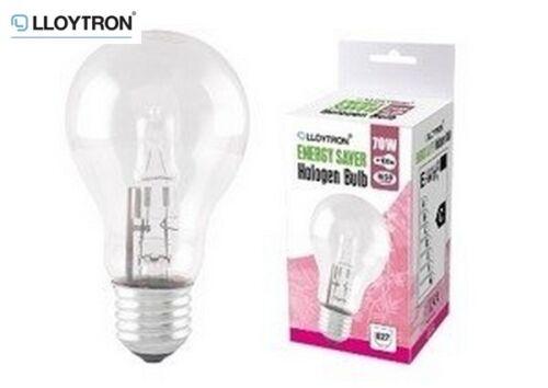 Lloytron B22 70W Halogen Incandescent Bulb Single Light Clear Lamp Home New